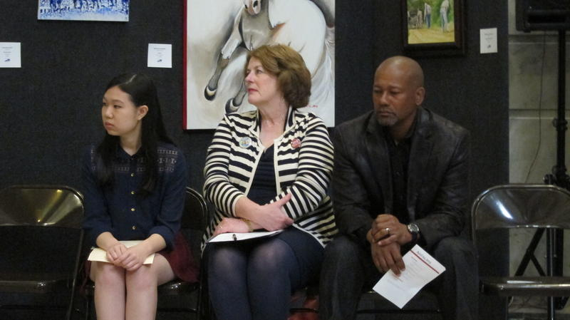 Aline Dolinh (National Student Poet), Lori Meadows (Kentucky Arts Council Executive Director), and Frank X. Walker