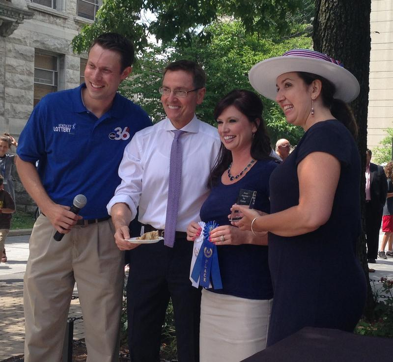 Mayor Jim Gray hands out the made-from-scratch award at this year's Great American Pie Contest