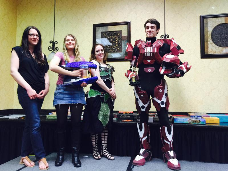The winner of the cosplay contest, dressed as a Spartan from the Halo series of video games.