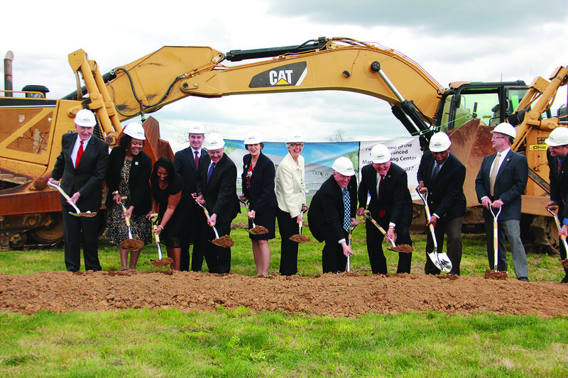 Supporters breaking ground for the new facility, including BCTC President Dr. Augusta Julian, KCTS President Dr. Jay Box, Ky. LT. Gov. Crit Luallen, several state legislators, the Mayor of Georgetown, and the Scott County Judge Executive