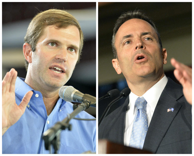 Kentucky Attorney General Andy Beshear, left, and Gov. Matt Bevin, right.