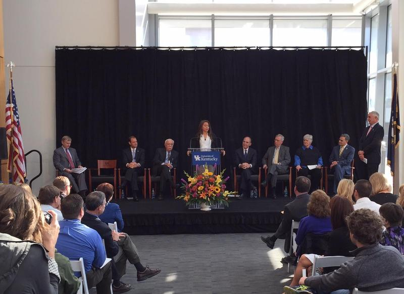 Brittany Martin, a graduate of the Community Leadership Institute of Kentucky, addresses the audience at the announcement of a $19.8M NIH grant for UK's Center for Clinical and Translational Science