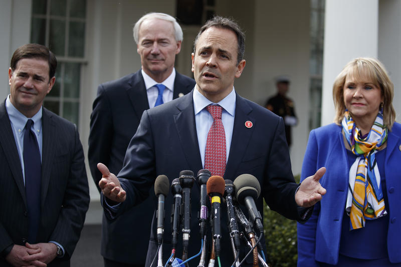 Kentucky Gov. Matt Bevin speaks to reporters outside the White House in Washington, Monday, Feb. 27, 2017, following a meeting with President Donald Trump inside.