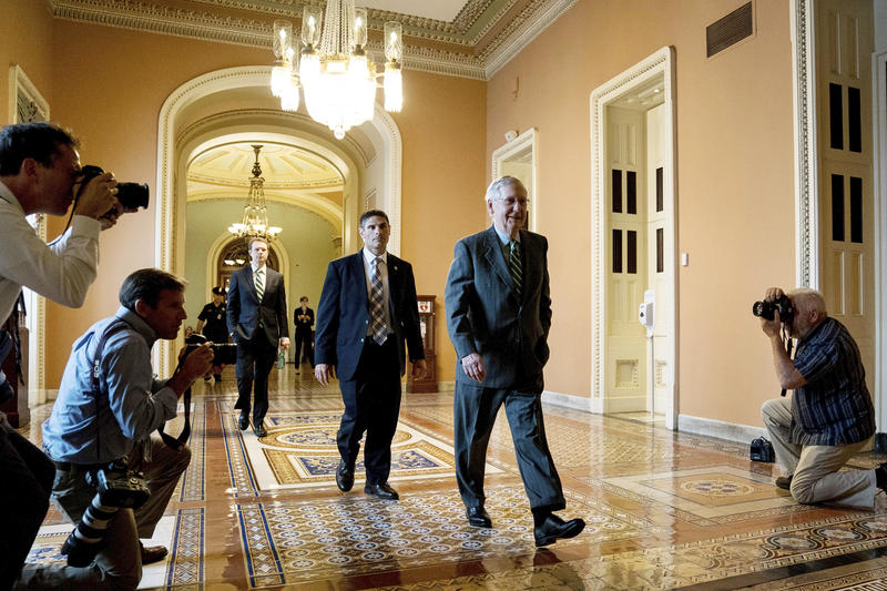 Senate Majority Leader Mitch McConnell of Ky. arrives on Capitol Hill, Thursday, June 22, 2017, in Washington.