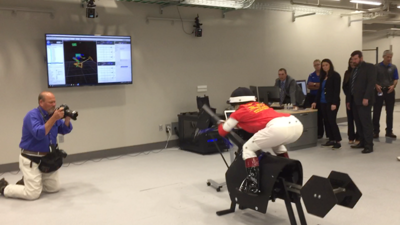 A volunteer jockey tests out the biomechanical laboratory at the University of Kentucky's new Sports Medicine Research Institute on June 14, 2017.