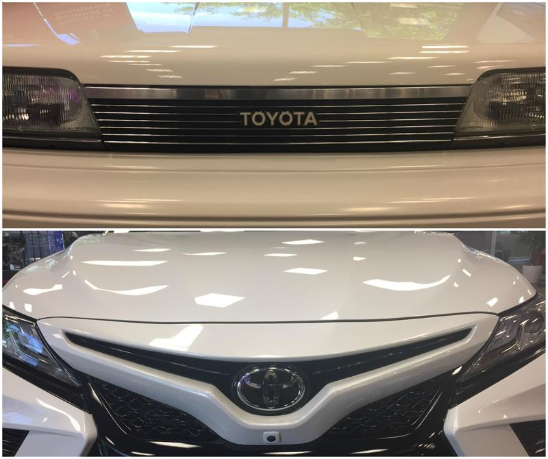 Above is the grill of the first Toyota Camry unveiled in the early 1980s. Below is the grill of the latest incarnation, the sporty 2018 Camry.