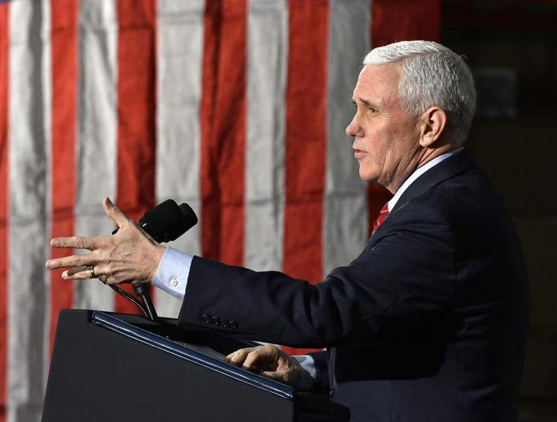 Vice President Mike Pence speaks at the Trane Parts and Distribution Center, Saturday, March 11, 2017, in Louisville, Ky.