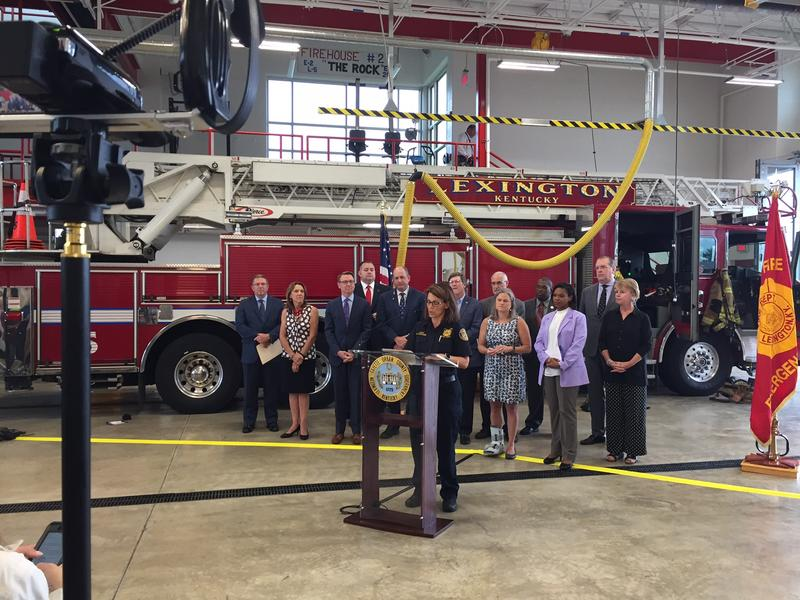 Lexington Fire Chief Kristin Chilton (at the podium) discusses the upgrades at Lexington's new Fire Station 2 on July 6, 2017.