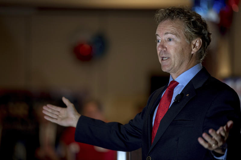 Sen. Rand Paul, R-Ky., speaks to supporters gathered at The Champions of Liberty Rally in Hebron, Ky., Friday, Aug. 11, 2017.