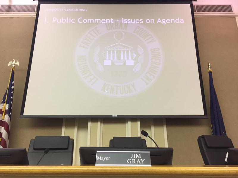 Close-up of Mayor Jim Gray's seat in the center of the Urban County Council horseshoe following a public meeting on the fate of two Confederate statues on August 15, 2017.