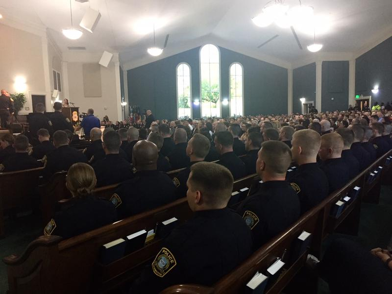 Forthy-eight police recruits await their turn at a graduation ceremony in lexington on September 28, 2017.