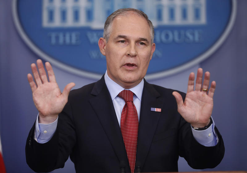 FILE - In this June 2, 2017, file photo, Environmental Protection Agency Administrator Scott Pruitt speaks to the media during the daily briefing in the Brady Press Briefing Room of the White House in Washington.