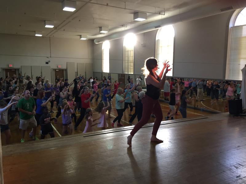 Lexington Thriller parade instructor and co-founder Melissa McCartt-Smyth takes participants through the choreography on October 4, 2017.