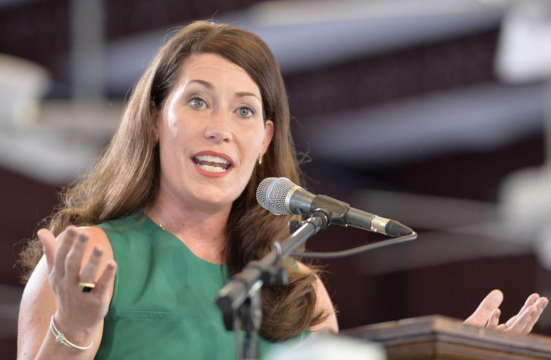 Kentucky democratic candidate for Secretary of State Alison Lundergan Grimes speaks to the crowd at the Fancy Farm Picnic in Fancy Farm, Ky., Saturday, Aug. 1, 2015.