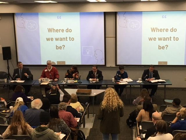 The six candidates vying to replace Lexington Mayor Jim Gray gathered for a public forum at the University of Kentucky on April 25, 2018.