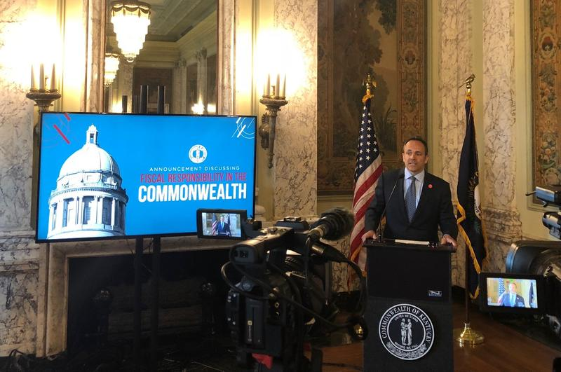 Kentucky Governor Matt Bevin announces vetoes of the two-year state budget and tax reform bills passed by the GOP-led House and Senate at a press conference on April 9, 2018.