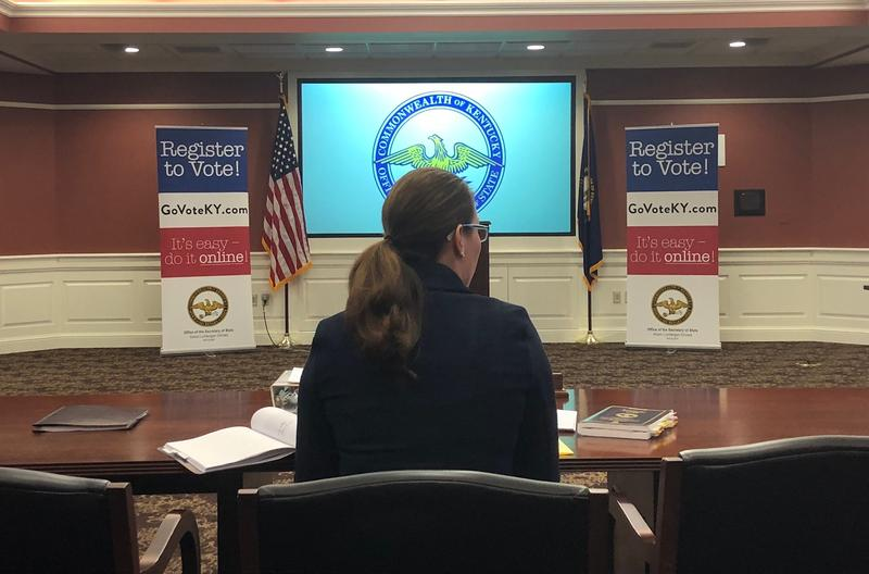 Kentucky Secretary of State Alison Lundergan Grimes addresses the Kentucky Election Integrity Task Force ahead of the May 22 primary on April 19, 2018.