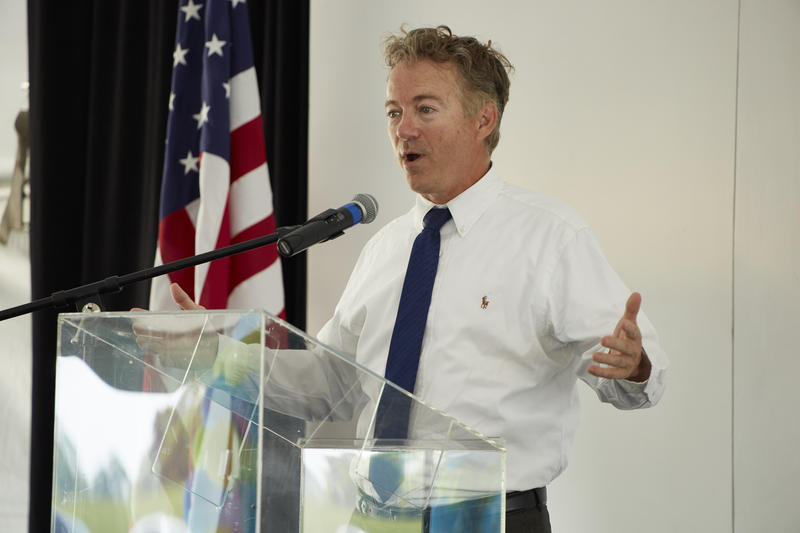 Senator Rand Paul speaking at the Novelis Guthrie ground breaking event on Monday, May 14, 2018 in Guthrie, Ky.