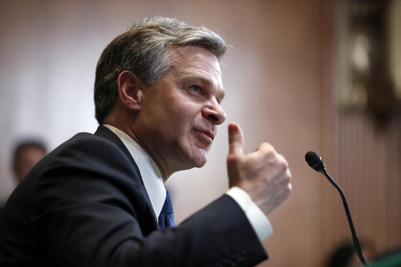 FBI Director Christopher Wray testifies during a hearing of the Senate Subcommittee on Commerce, Justice, Science, and Related Agencies about the FY2019 budget, on Capitol Hill, Wednesday, May 16, 2018 in Washington.
