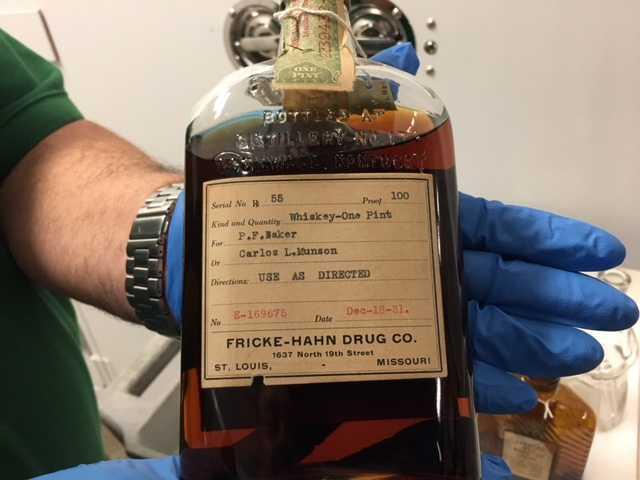 """A quick scan of the label on this bourbon bottle reveals the """"medicinal"""" message"""