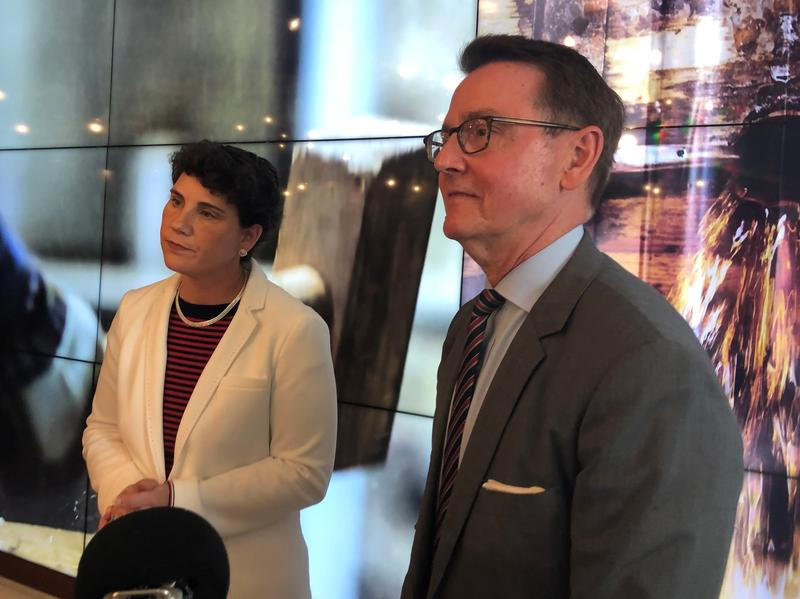 Democratic Sixth District congressional candidate Amy McGrath and Lexington Mayor Jim Gray made their first joint public appearance since the election on  June 29, 2018.
