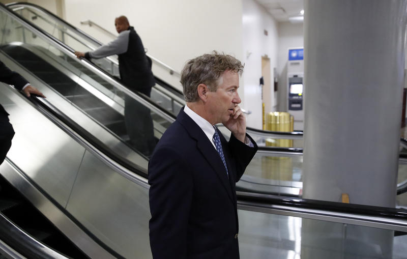 Sen. Rand Paul, R-Ky., departs after a vote on Gina Haspel to be CIA director, on Capitol Hill, Thursday, May 17, 2018 in Washington.