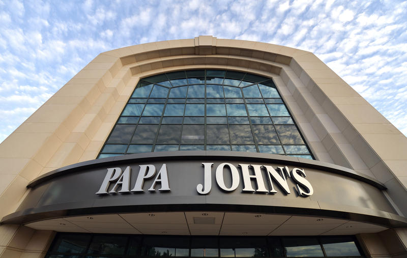 This July 17, 2018, file photo, shows the corporate headquarters of Papa John's pizza located on their campus, in Louisville, Ky. Papa John's Pizza reports earnings Tuesday, Aug. 7.
