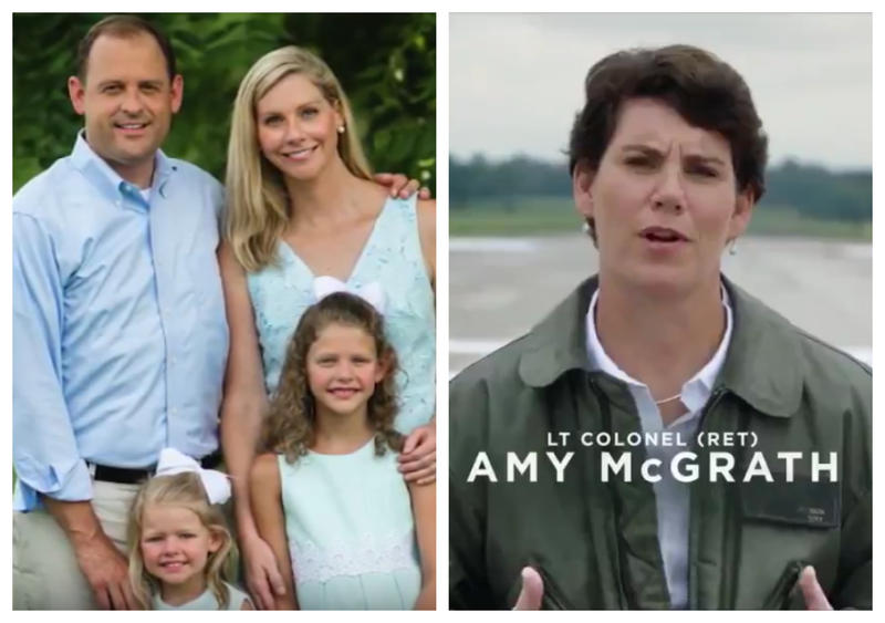 Still shots from ads released by the Barr and McGrath campaigns the week of August 6, 2018.