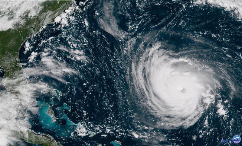 This GOES East satellite image taken Tuesday, Sept. 11, 2018, at 10:30 a.m. EDT, and provided by NOAA shows Hurricane Florence in the Atlantic Ocean as it threatens the U.S. East Coast, including Florida, Georgia, South and North Carolina.
