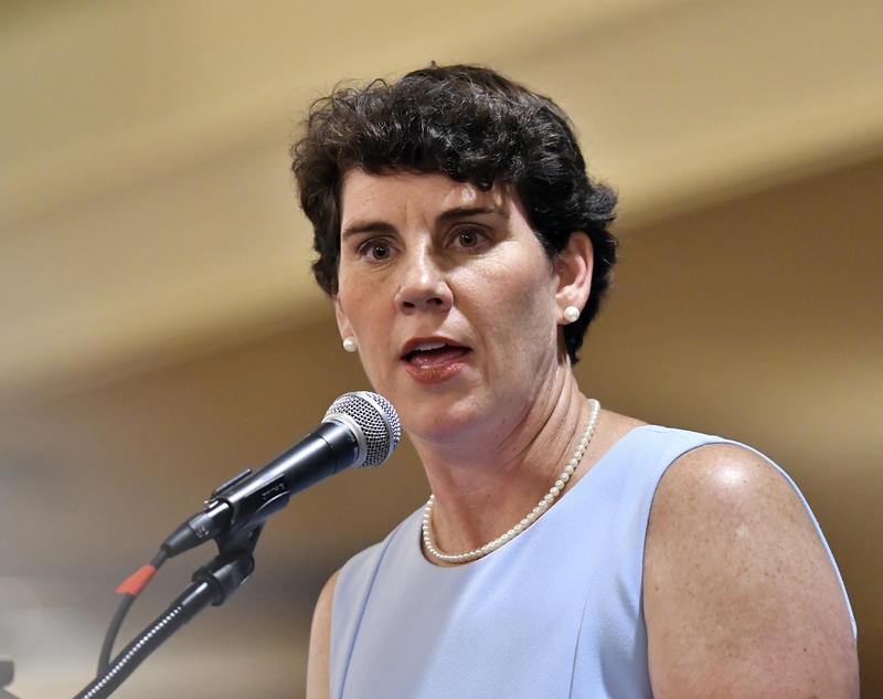 FILE - In this Saturday, Aug. 18, 2018 file photo,Amy McGrath, a Kentucky Democratic candidate for Congress, speaks to supporters during the 26th Annual Wendell Ford Dinner in Louisville, Ky.