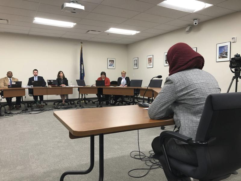 High school sophomore Sanaa Kahloon speaks against new minimum high school graduation requirements during a public hearing on Thursday, Nov. 29, 2018, in Frankfort, Kentucky.