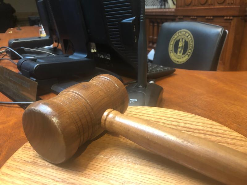 A gavel rests on a desk after adjournment in the Kentucky Senate on January 11, 2019.