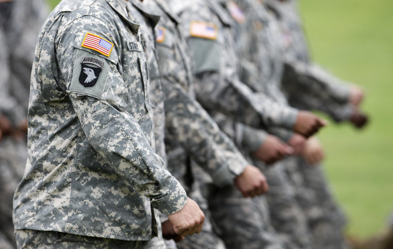 Troops march on Friday, Aug. 17, 2012, at Fort Campbell, Ky.