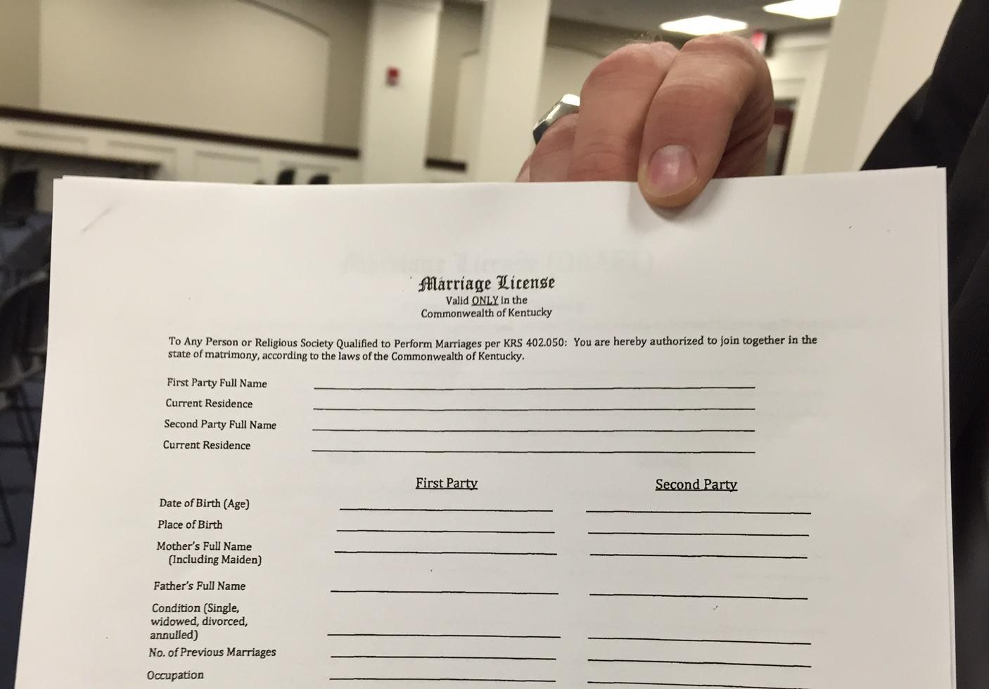 Kentucky considers two marriage license forms, one for gay marriage