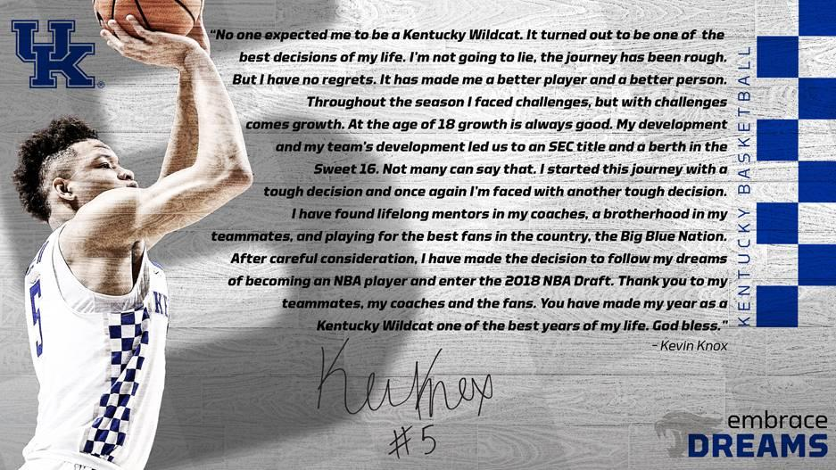 Kevin Knox heading to the National Basketball Association