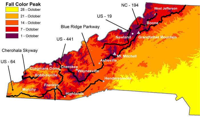 Map Shows Where And When Fall Colors Peak In North Carolina  WUNC