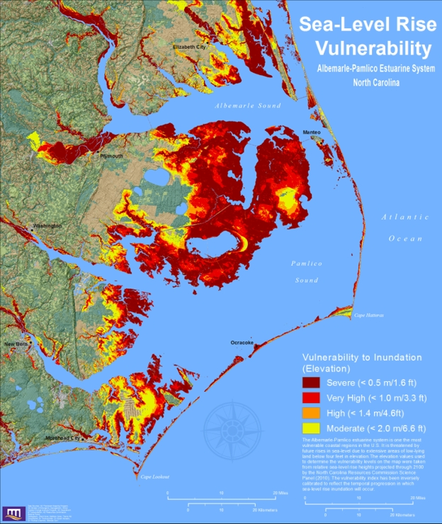 The Science And Politics Of Predicting SeaLevel Rise Along The - Projected sea level rise map