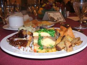 Full plate of fixings at Vegetarian Thanksgiving at Washington Duke Inn