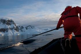 Ari Friedlaender with Humpback whale in Wilhelmina Bay, Antarctica