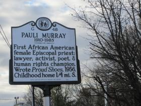 Pauli Murray marker sits at Carroll and West Chapel Hill Streets in Durham.