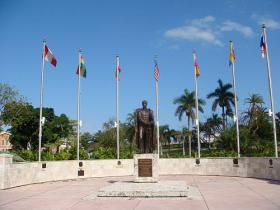Bolivar statue at Bayfront Park in Miami, FL