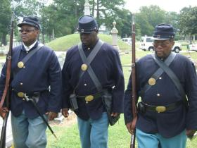 37th US Colored Troops re-enactors participated in Pvt. Frank Worthington's headstone ceremony, Civil war