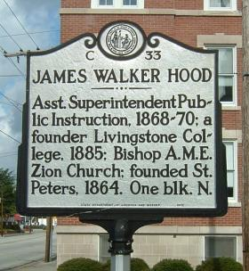 A historic marker celebrates the life of James Walker Hood at Broad and George Streets in New Bern 