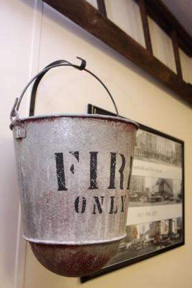 A fire bucket on display at the new museum