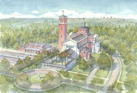 An artist's rendering of Holy Name of Jesus Cathedral