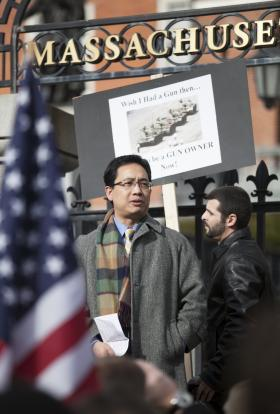 Photo of Yang Li at a rally in Boston.