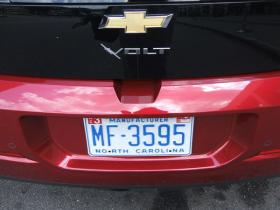 The 'Chevy Volt' is one of the more popular 'Plug-in' electric vehicles in North Carolina.