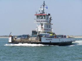 The ferry Roanoke normally transports passengers between Hatteras and Ocracoke Islands.
