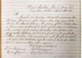 Letter written on April 12, 1861 