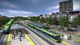 Light rail transit with Amtrak visualization of area near Durham Station Transportation Center.